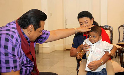 President Mahinda Rajapaksa yesterday had lunch with Danindu Yashen, who was rescued from his kidnappers on Friday and his family at the President's House