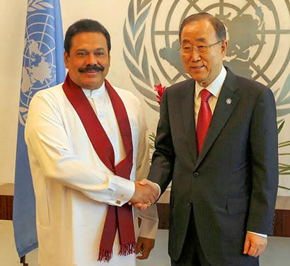 Sri Lanka President Mahinda Rajapaksa and UN Secretary General Ban Ki Moon meet in New York