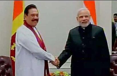President Mahinda Rajapaksa with Prime Minister Narendra Modi