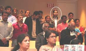 At the launch of Prabhakaran's book, aspiring Canadian Liberal Party politician Gary Anandasangaree amidst LTTE supporters and terrorist fundraisers