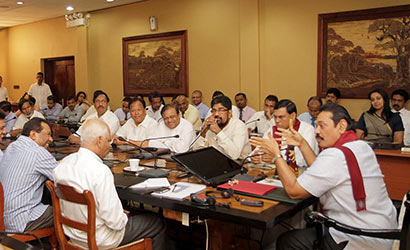 President Mahinda Rajapaksa at a cabinet meeting