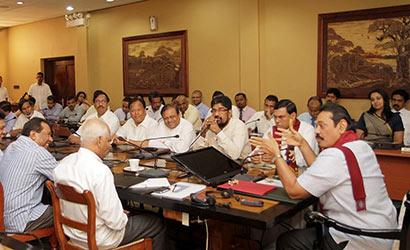 President Mahinda Rajapaksa at a cabinet meeting