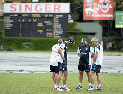 England were frustrated by rain in Colombo as their final warm-up match was abandoned without a ball being bowled.