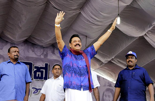 President Mahinda Rajapaksa, addressing a massive election rally in Anuradhapura