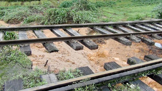 Up country railway line damaged in Sri Lanka