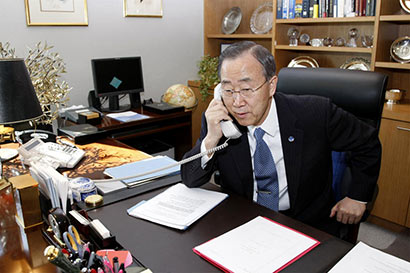 Banki Moon over the phone