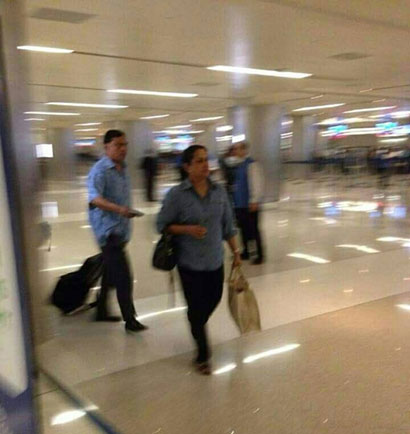 Basil Rajapaksa and his his wife Pushpa Rajapaksa arriving in the US