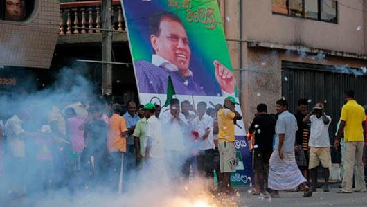 Supporters of Maithripala Sirisena