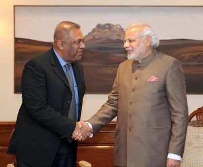 Sri Lankan Foreign Minister Mangala Samaraweera met Prime Minister Narendra Modi