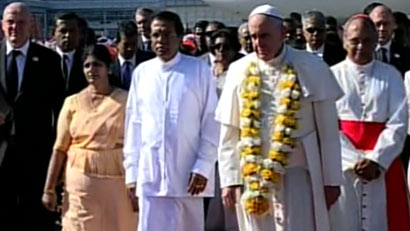 Pope Francis arrives in Sri Lanka