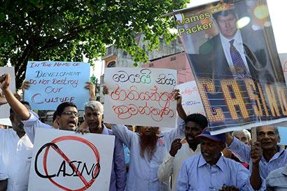 Protest on James Packer Casino in Sri Lanka