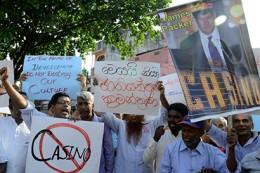 Protest on James Packer Crown casino in Sri Lanka