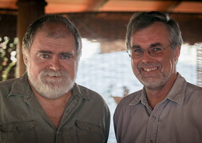 Chris Langdon and film maker Daniel Ridicki in Colombo