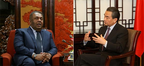 Mangala Samaraweera and Wang Yi