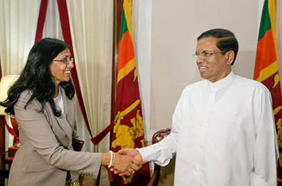 US Assistant Secretary of State for South and Central Asia, Mrs. Nisha Biswal, called on President Maithripala Sirisena