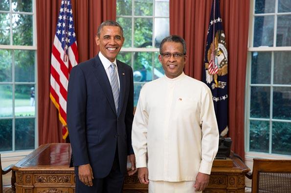 Sri Lanka Ambassador Prasad Kariyawasam with US President Barack Obama