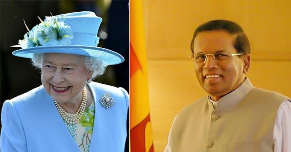Queen Elizabeth II and Sri Lanka President Maithripala Sirisena