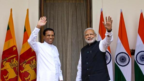 Sri Lanka President Maithripala Sirisena meets India Primeminister Narendra Modi
