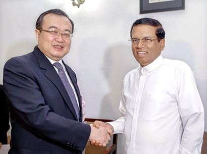 Sri Lanka President Maithripala Sirisena met China Assistant Minister of Foreign Affairs Mr. Liu Jianchao