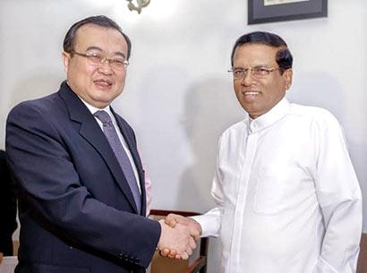 Sri Lanka President Maithripala Sirisena met China Assistant Minister of Foreign Affairs Mr. Liu Jianchao