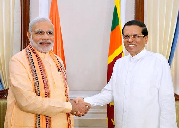 Indian Prime Minister Narendra Modi met Sri Lanka President Maithripala Sirisena