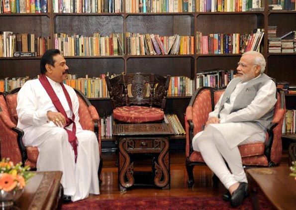 Former President of Sri Lanka Mahinda Rajapaksa with Indian Prime Minister Narendra Modi