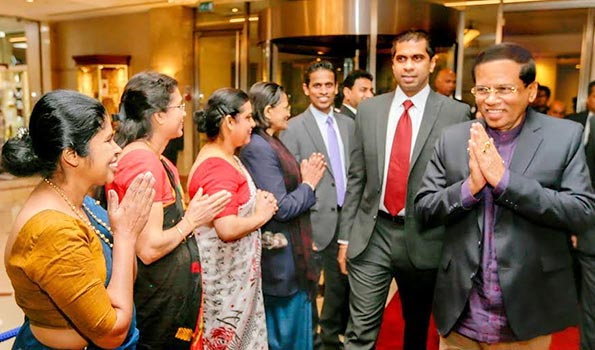 Sri Lanka President Maithripala Sirisena arrived at London Heathrow Airport
