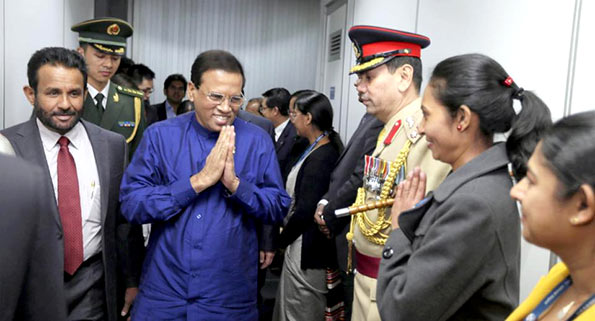 Sri Lanka President Maithripala Sirisena arrived at Beijing airport - China