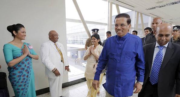 Sri Lanka President Maithripala Sirisena leaves for China