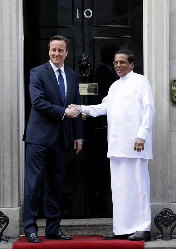 Sri Lanka President Maithripala Sirisena meets British Prime Minister David Cameron