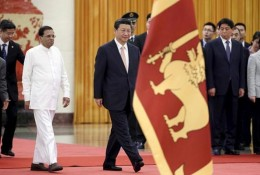 Sri Lanka's President Maithripala Sirisena and China's President Xi Jinping attend a welcoming ceremony at the Great Hall of the People in Beijing