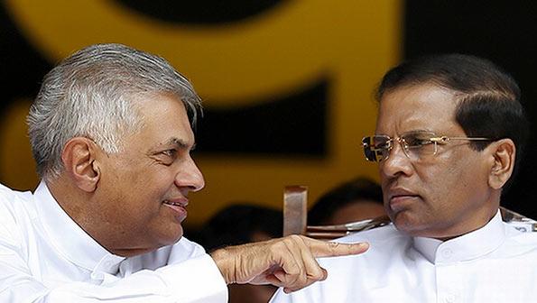 Ranil Wickremasinghe with Maithripala Sirisena