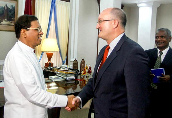 Sri Lanka President Maithripala Sirisena with European Union Ambassador David Daly