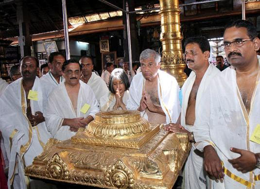 Sri Lankan Prime Minister Ranil Wickramasinghe at the Guruvayur Sreekrishna Temple