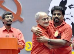 Tilvin Silva, Somawansa Amarasinghe with Anura Kumara Dissanayake - JVP Sri Lanka