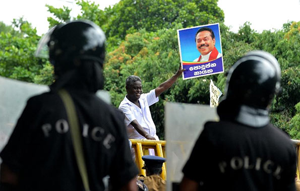 UPFA Protest near Sri Lanka Parliament