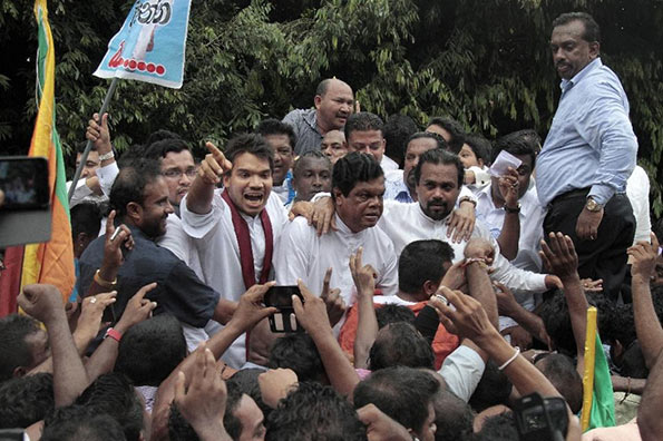 UPFA Protest near Sri Lanka Parliament