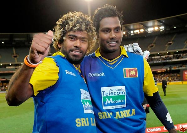 Lasith Malinga with Angelo Mathews