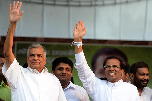 Maithripala Sirisena with Ranil Wickremasinghe and Sajith Premadasa