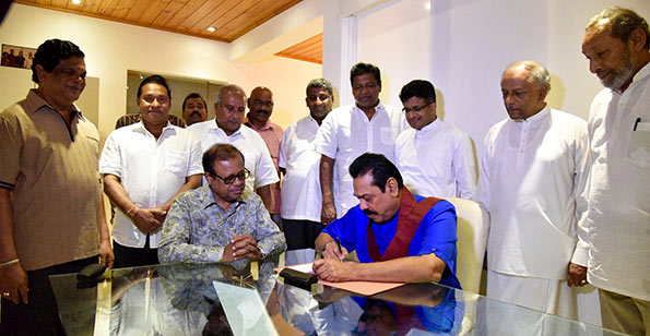 Mahinda Rajapaksa signs nomination papers