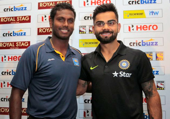 Angelo Mathews with Virat Kohli