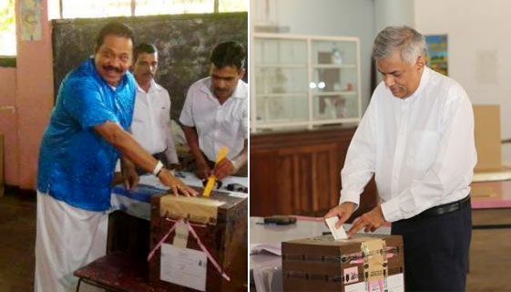 Mahinda and Ranil casting their vote