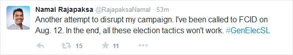 Namal's twitter message