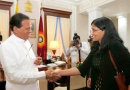 Nisha Biswal meets Sri Lanka President Maithripala Sirisena