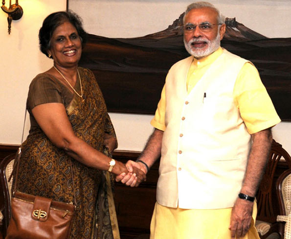 Chandrika Kumaratunga and Narendra Modi