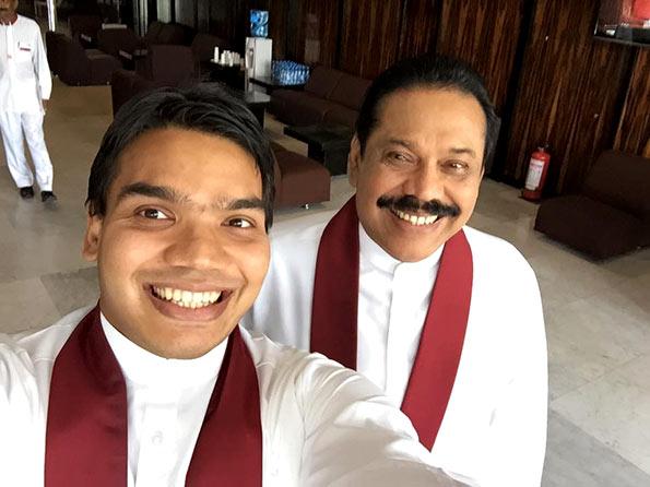 Namal Rajapaksa with Mahinda Rajapaksa