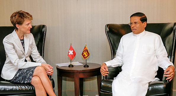 Sri Lanka President Maithripala Sirisena and Switzerland President Simonetta Sommaruga