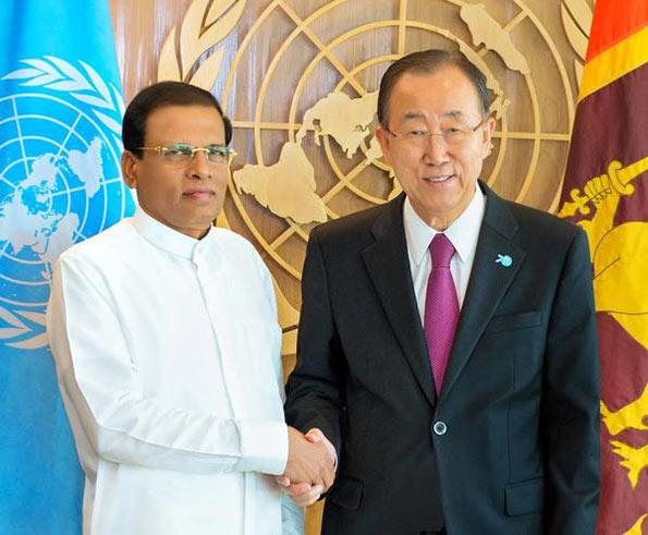 Sri Lanka president Maithripala Sirisena meets UN chief Ban Ki Moon