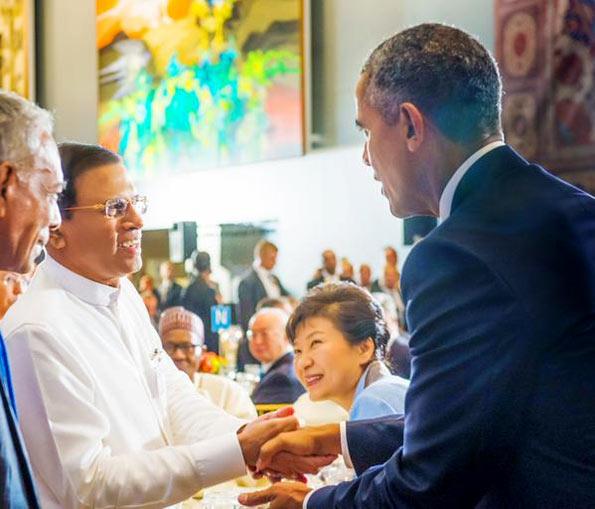 US President Barack Obama met Sri Lanka President Maithripala Sirisena