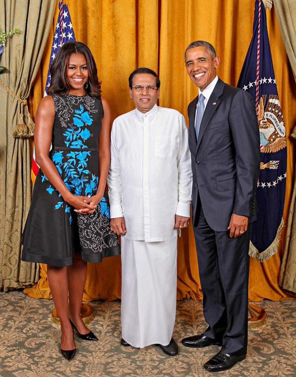 US President Barack Obama with Sri Lanka President Maithripala Sirisena